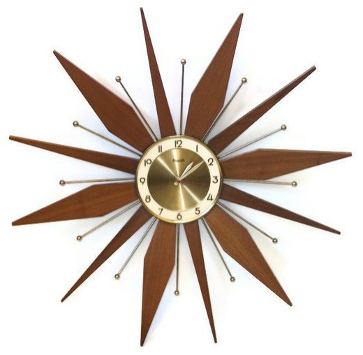 Vintage Starburst Wall Clock By Retro Classics Eclectic