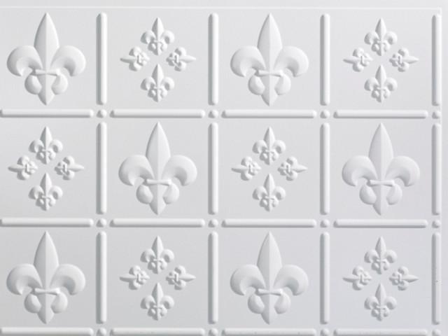 Fasade 6 39 39 X6 39 39 Fleur De Lis Backsplash Sample Gloss White