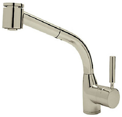 Rohl Satin Nickel Kitchen Faucet, Pull Out Spray, Lever Handles - Contemporary - Kitchen Faucets ...