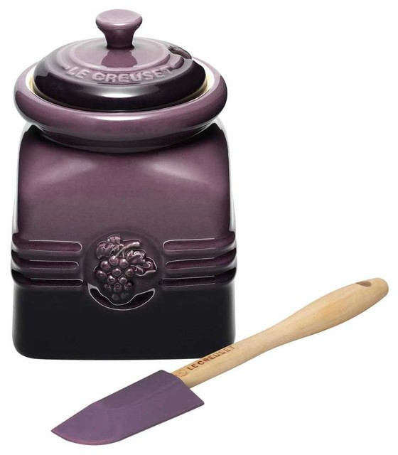 le creuset stoneware grape jelly jar cassis purple
