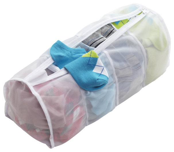 Four Section Micro Mesh Wash Bag Contemporary Laundry