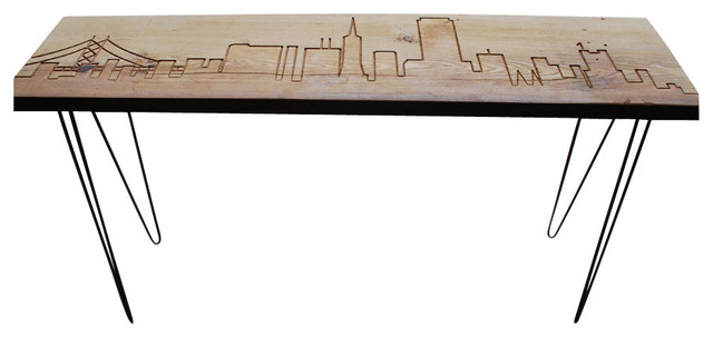 San francisco reclaimed wood console table thick 48 x11 Salvaged wood san francisco