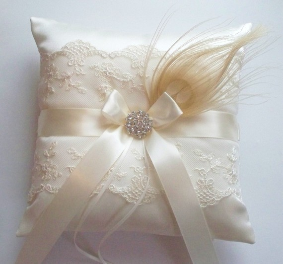 Peacock Feather Ringbearer Pillow By JLWeddings - Traditional - Decorative Pillows - by Etsy