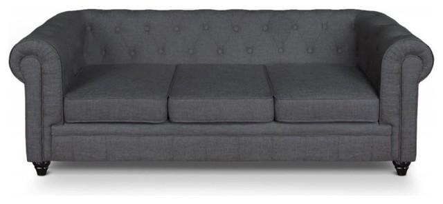 canap fixe chesterfield royal 3 places effet lin gris victorien canap par inside75. Black Bedroom Furniture Sets. Home Design Ideas