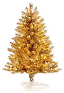 Modern Gold Christmas Tree Of Holiday Lane 3 Foot Gold Mini Tree With Clear Lights