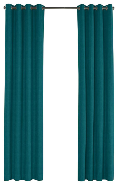 ... Teal Linen Grommet Curtain - Contemporary - Curtains - by Loom Decor