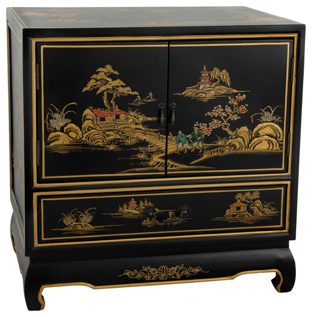 Black Lacquer Nightstand Traditional Nightstands And