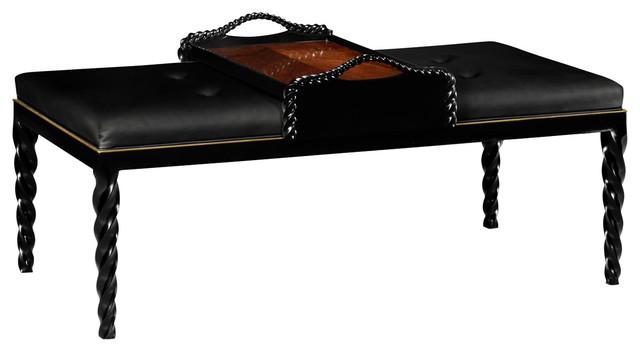 Jonathan Charles Black Leather Upholstered Ottoman 495162 Bla Bll Transitional Coffee Tables