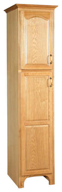 Richland 18 x21 x84 linen nutmeg oak finish traditional bathroom cabinets shelves by for Oak linen cabinet for bathrooms