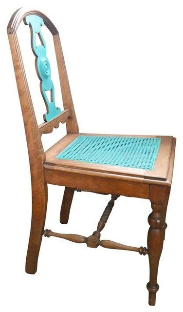 used antique turquoise cane accent chair transitional living room chairs by chairish. Black Bedroom Furniture Sets. Home Design Ideas
