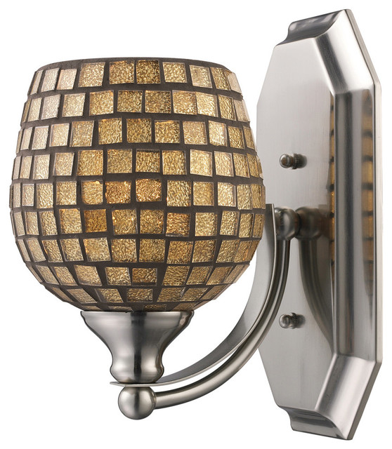 Elk lighting vanity 1 light bathbar with gold mosaic glass for Gold bathroom wall lights