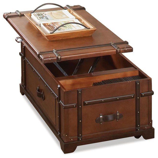 Steamer Trunk Lift Top Cocktail Table Traditional