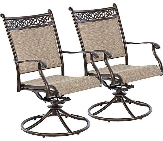 Cayside Bronze Outdoor Rocking Chair Set of 2 Rustic Living Room Chairs