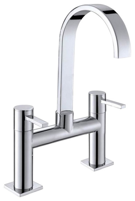 Double handle long neck brass chrome plated waterfall - Long bathroom sink with two faucets ...