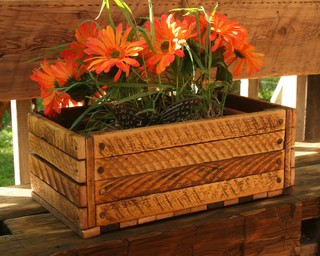Reclaimed Wood Crate Eclectic Indoor Pots And