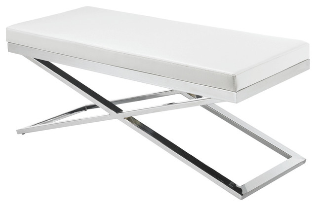 Alexa X Base Bench White Contemporary Upholstered Benches By Inmod