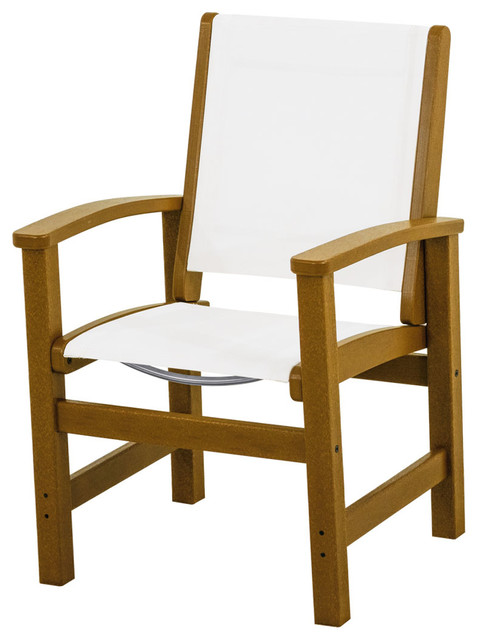 Coastal Dining Chair Teak Frame White Sling Outdoor Dining Chairs by Po