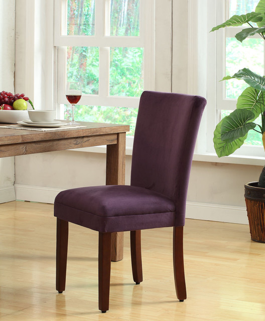 Rich plum aubergine velvet parsons dining chair set of 2 for Plum dining room chairs