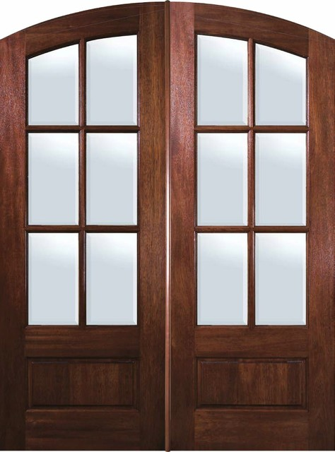Slab French Double Door 96 Mahogany Arch Top 3 4 Lite 6 Lite Traditional Patio Doors Tampa