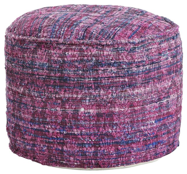 Floor Pillows Pier One : Repurposed Fabric Pouf, Purple contemporary-floor-pillows-and-poufs