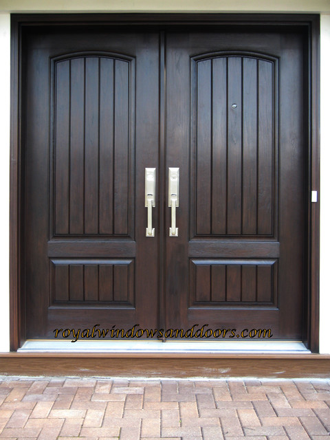 Double entry door system fiberglass with wrought iron for Double doors exterior for homes