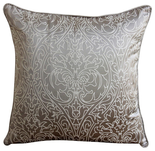 Decorative Pearl Pillow : Gray and Pearl Decorative Silk Throw Throw Pillow Cover, 14x14 - Contemporary - Scatter Cushions ...