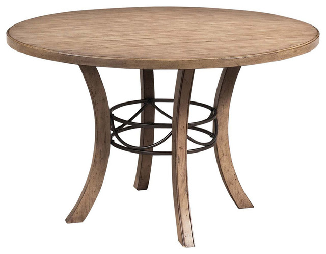 Hillsdale Charleston Round Dining Table W Metal Ring In Desert Tan Contemp