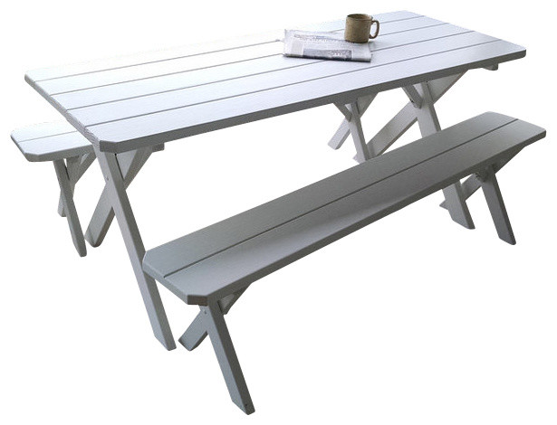 8 Pine Traditional Table Gray Stain Farmhouse Outdoor Dining Tables