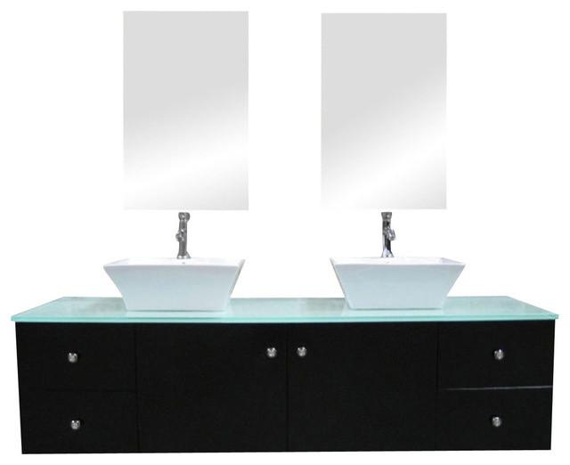 Portland 61 Double Sink Wall Mount Vanity Set Espresso Modern Bathroom Vanities And Sink