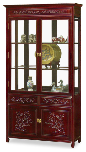 """40"""" Rosewood Flower and Bird Motif China Cabinet - Asian - China Cabinets And Hutches - by China ..."""