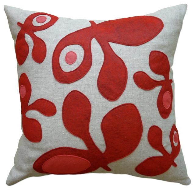 Modern Felt Pillows : Felt Applique Linen Pillow - Pod - Contemporary - Decorative Pillows - by Balanced Design