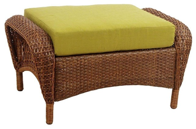 Martha Stewart Living Ottomans Charlottetown Brown All Weather Wicker Patio Contemporary