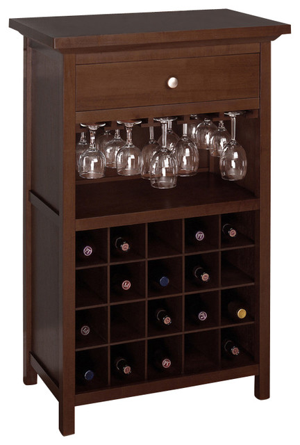 Winsome Wood Wine Cabinet with Glass Hanger with Antique Walnut Finish X-14449 - Contemporary ...