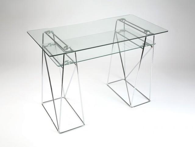 Light bureau en verre et m tal chrom pour ordinateur contemporain meuble - Meuble ordinateur en verre ...