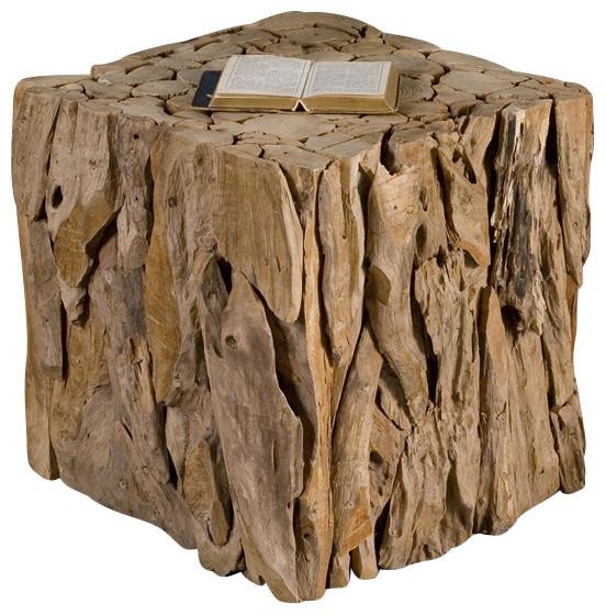 Teak Root End Table: Uttermost Teak Root Bunching Cube