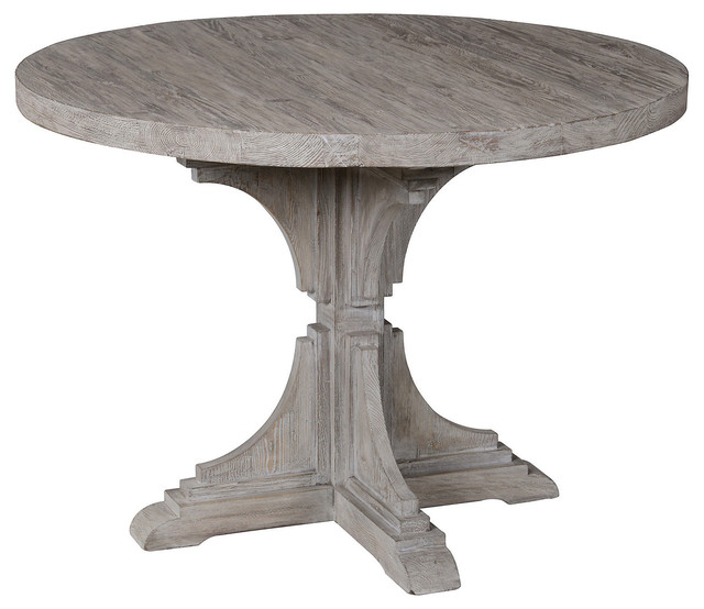 "Houzz Dining Table: Adrielle 42"" Round Dining Table, Gray"