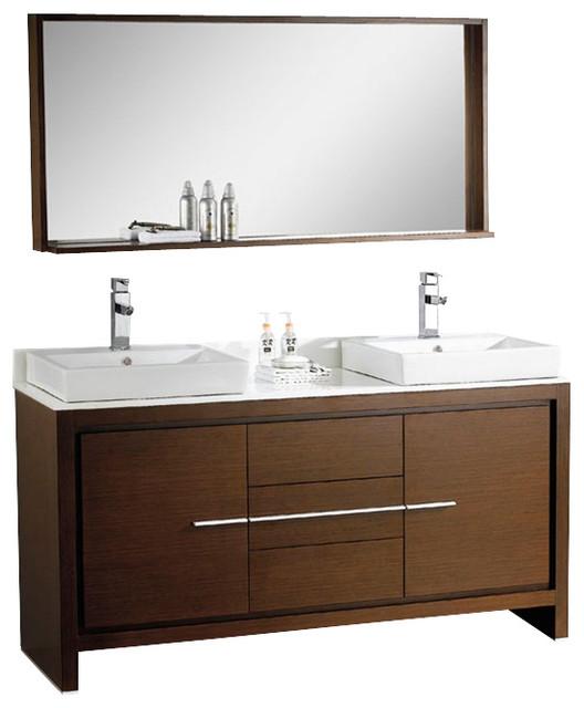 Fresca Allier 60 Modern Double Sink Bathroom Vanity Wenge Modern