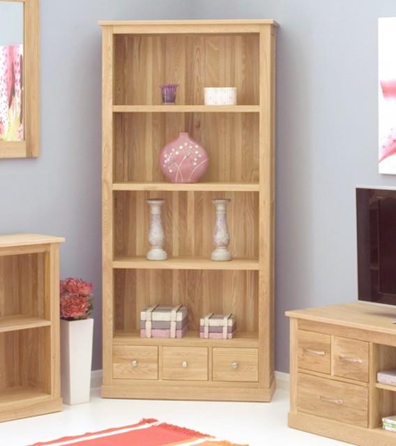 Mobel Oak Large 3 Drawer Bookcase Contemporary