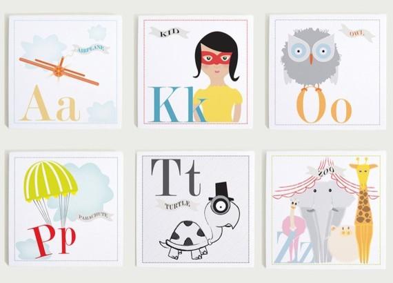 Individual alphabet nursery wall art print set by modern - Modern nursery wall decor ...