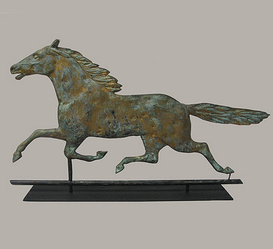 Vintage Weather Vane: Antique Horse Weather Vane With Contemporary Iron Stand