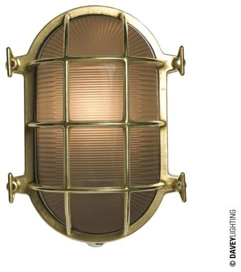 Exterior Wall Lights Industrial : Davey 7035 Oval Brass Bulkhead 75W Polished Brass - Industrial - Outdoor Wall Lights - south ...