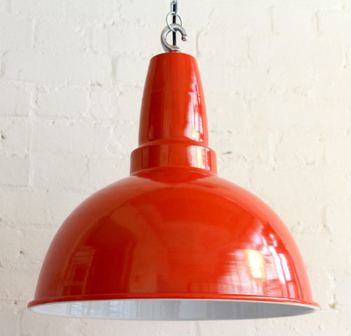 Bespoke Giant Orange Retro Industrial Pendant Light
