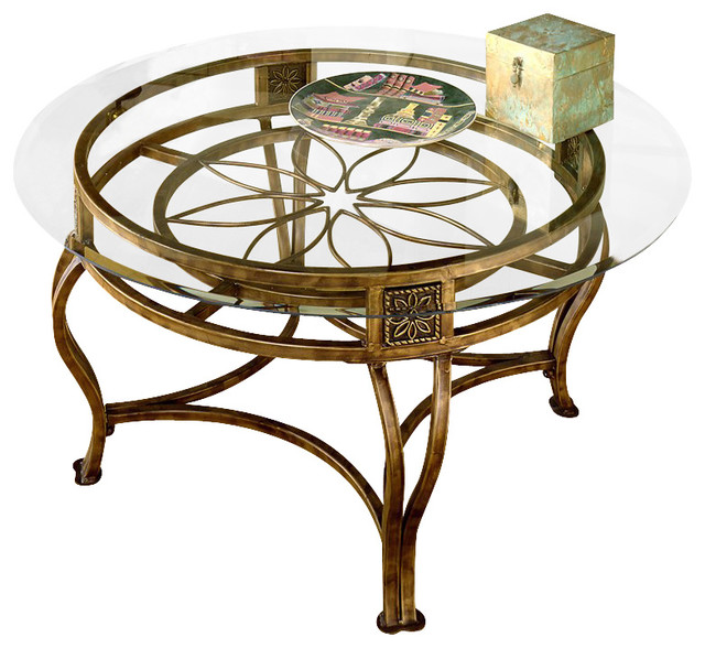 Hillsdale Scottsdale Round Glass Top Coffee Table In Brown Rust Finish Traditional Coffee