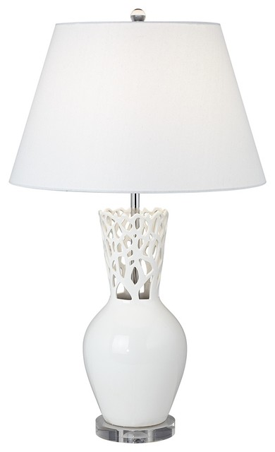 possini euro design white coral vase table lamp modern table lamps. Black Bedroom Furniture Sets. Home Design Ideas