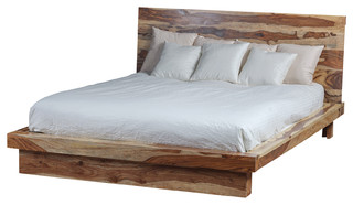 Harrison Industrial-Style Rosewood Bed, Natural, Queen
