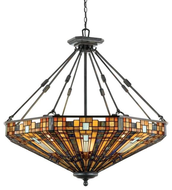 Foyer Lighting Mission Style : Quoizel light inglenook pendant in valiant bronze