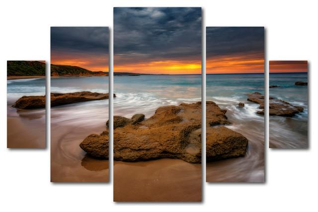 Multi Panel Canvas Wall Art Beach At Sunset 539 Multi
