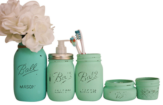 Painted mason jars 5 piece bathroom set mint green and for Sea green bathroom accessories