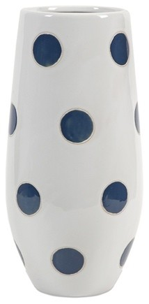 Essentials polka dot vase marine blue contemporary for Dot wall vase