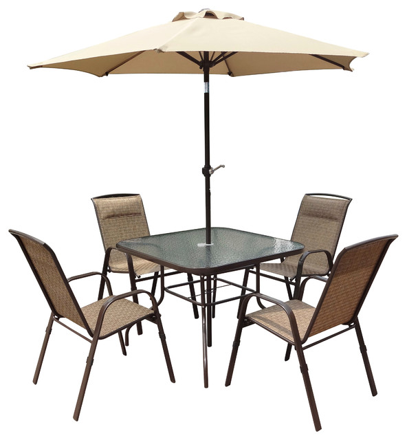 Corliving 5 Piece Patio Dining Set With Tilting Umbrella Transitional Out